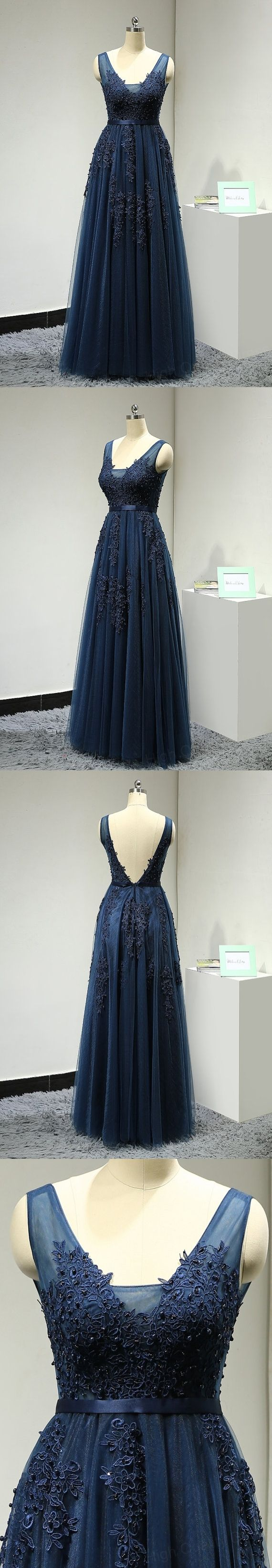 Long Prom Dresses , Sexy Backless Dark Navy Evening Dresses V Neck Lace Appliques Tulle Prom Party Dress Robe De Soiree formal Gowns