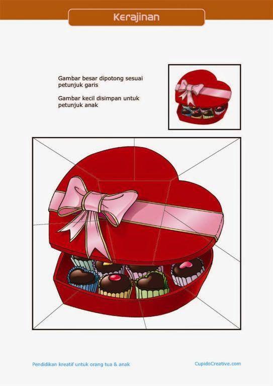 kerajinan gunting tempel PAUD (balita/TK) : buat sendiri puzzle valentine