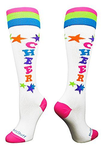 MadSportsStuff Cheer Over The Calf Socks:   Cheer Over The Calf Socks. High performance athletic socks for all team sports and elite athletes. Small fits a Youth Shoe Size 2-6. Medium fits a Men's Shoe 6-9 and Women's Shoe Size 7-10. Large fits a Men's 9-12 and Women's 10-13. X-Large fits a Men's 12-15 and Women's 13-16.