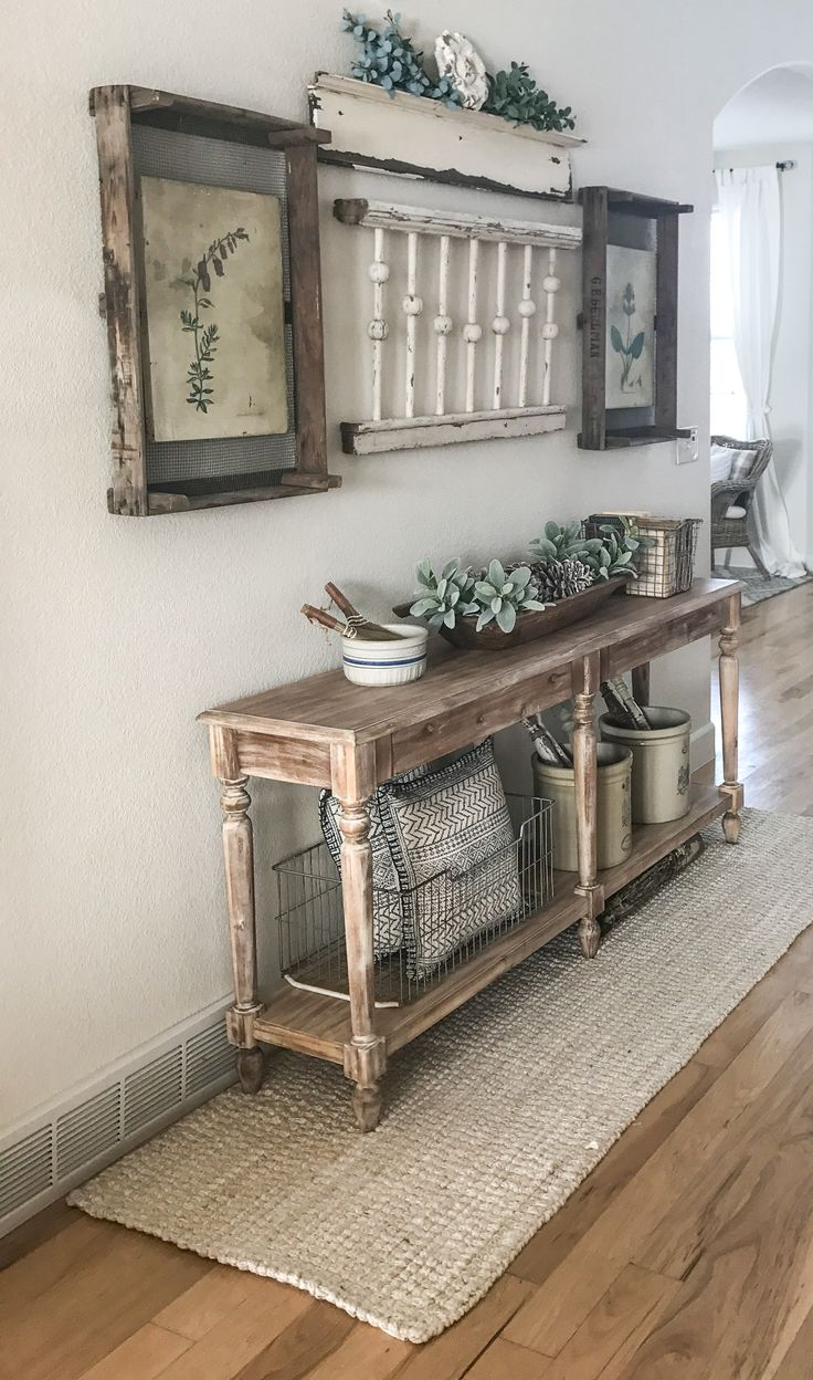 farmhouse entry idea. Railing on the wall, love this!