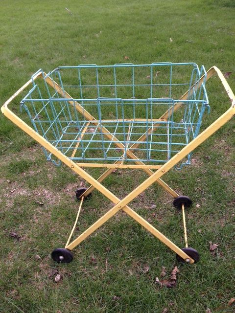 Vintage Yellow Metal Rolling Laundry Cart By JunkFromMyTrunk