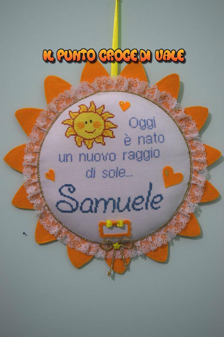Il 🎀fiocco nascita🎀 realizzato per la mia amica Giuliana e il piccolo Samuele!!!👶 Visita la mia pagina Facebook: IL PUNTO CROCE DI VALE