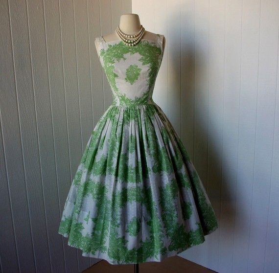 Etsy Transaction - vintage 1950s dress beautiful designer jeanne d'arc green floral toile with full skirt and crinoline underskirt
