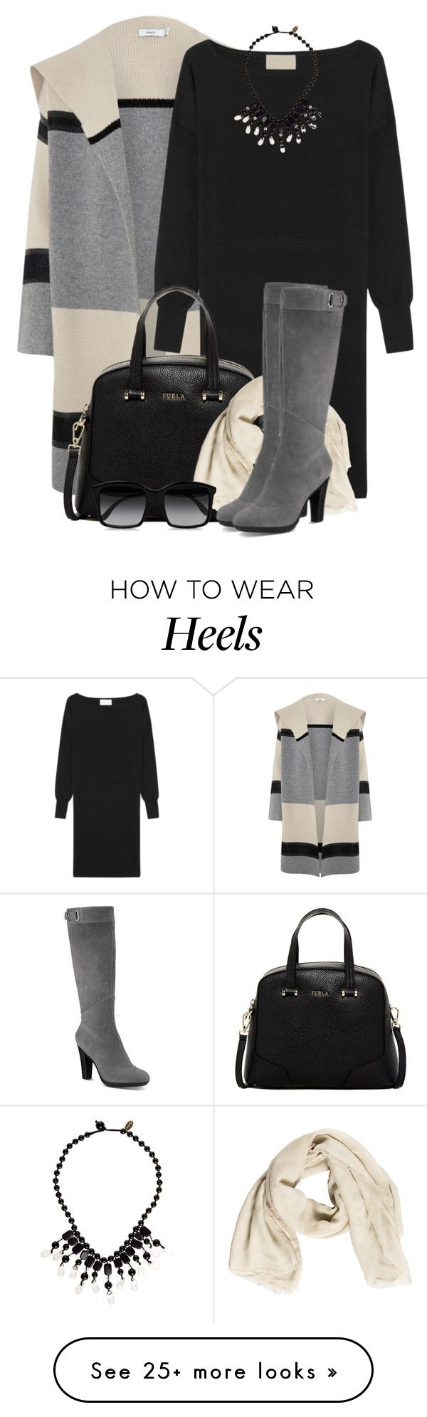 """Shawl Car Coat & Sweater Dress"" by brendariley-1 on Polyvore featuring Vince, American Vintage, Furla, Burberry, Tsubo, STELLA McCARTNEY, Monsoon, women's clothing, women and female"
