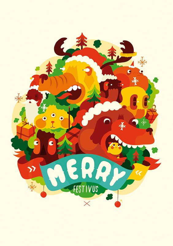 Seasons Greeting on wicked poster MERRY FESTIVUS by illustrator Sami Viljanto. Poster, 59x84 cm, 90 €.