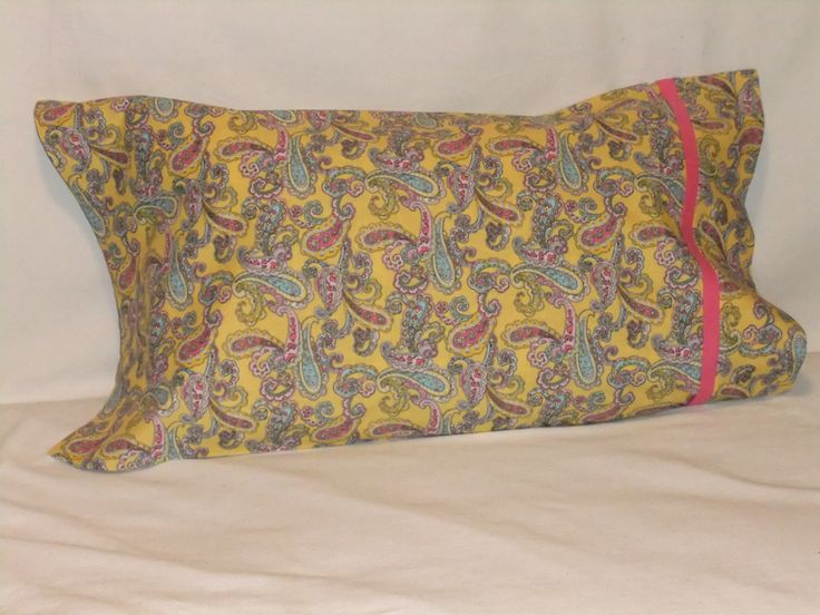 """PAISLEY in YELLOW PILLOWCASE - 20"""" x 35"""" by KatiesCOVERS on Etsy"""