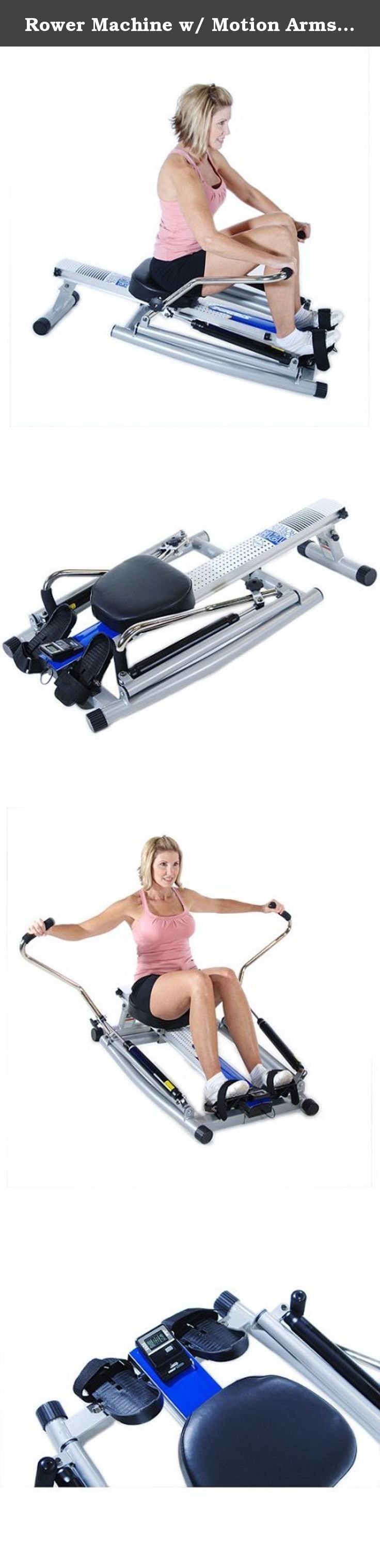 Rower Machine w/ Motion Arms Machine Sports Fitness Exercise Cardio Workout Training Home Gym Rower Machine Aerobic Hydraulic Cylinder Action Resistance Intensity Electronic Fitness Monitor Display. Rowing machine has precision extruded aluminum beam rower machine features deluxe ball bearing roller system Smooth hydraulic cylinder action resistance Adjustable tension controls Increase the beam incline for a more intense workout Rowing arms fold for storage Single button multi-function...