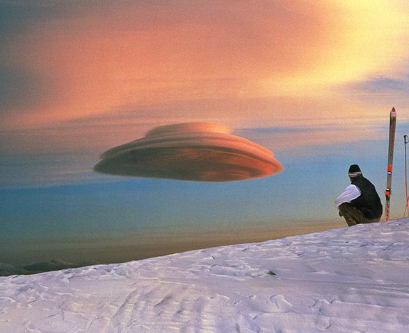 Lenticular cloud, Mauna Kea, Hawaii. The lens-shaped clouds form at high altitude and are usually formed when air passes over mountain tops