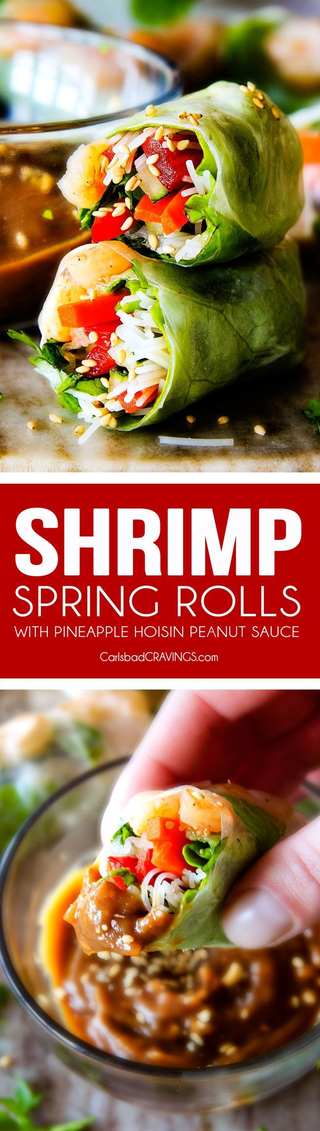 These insanely delicious Fresh Shrimp Spring Rolls are a flavor and texture explosion in every addictive bite and super easy to make with all my tips and tricks and step by step photos! and the the Pineapple Hoisin Peanut Sauce is EVERYTHING!