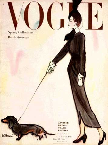 Oh, a mini long-haired doxie!  |  Vintage Vogue magazine covers - mylusciouslife.com - Vintage Vogue covers