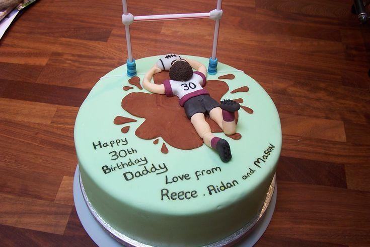 Rugby touchdown birthday cake