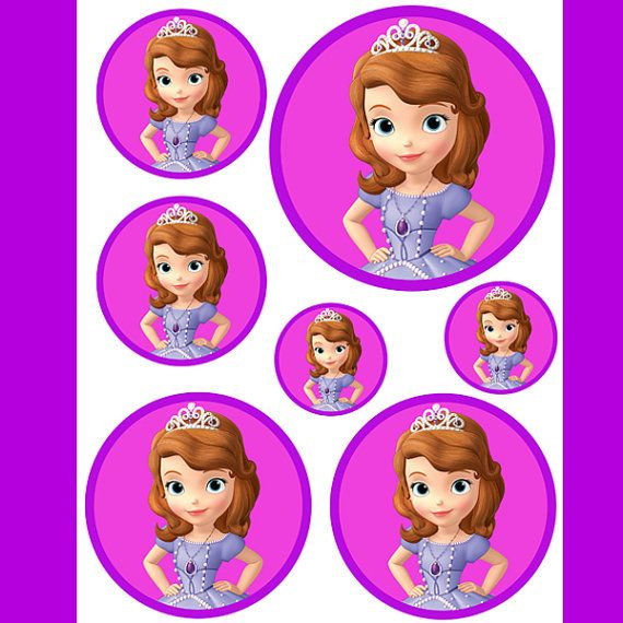 INSTANT DOWNLOAD Sofia the First (4 sizes) -Birthday party favors, hershey kisses,goodie bags,balloons,cupcake toppers,centerpiece, stickers on Etsy, $2.50