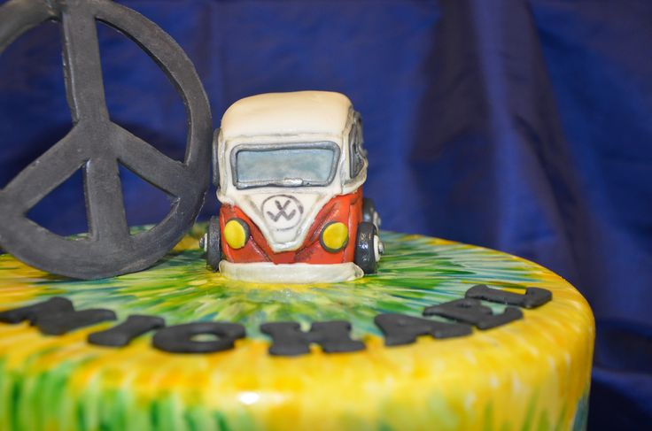 Tie-dye Hippie Cake, with a Peace sign and a hippie van