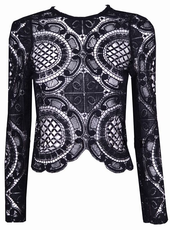 Black Long Sleeve Hollow With Zipper Lace Blouse 17.00