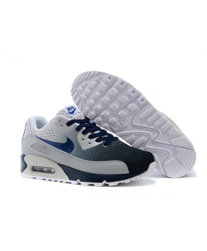 best service 6b1e9 c1e49 Mens Nike Air Max 90 Knit White Blue 6809331-288 | Shoe ...