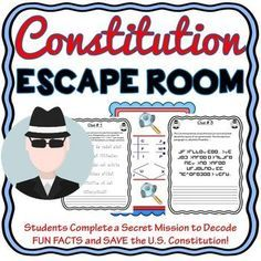 The Constitution Escape Room will take students on a secret mission around the classroom! This escape room has students decode four facts about the layout of the U.S. Constitution. The Constitution Escape Room has students walking around the classroom breaking codes.