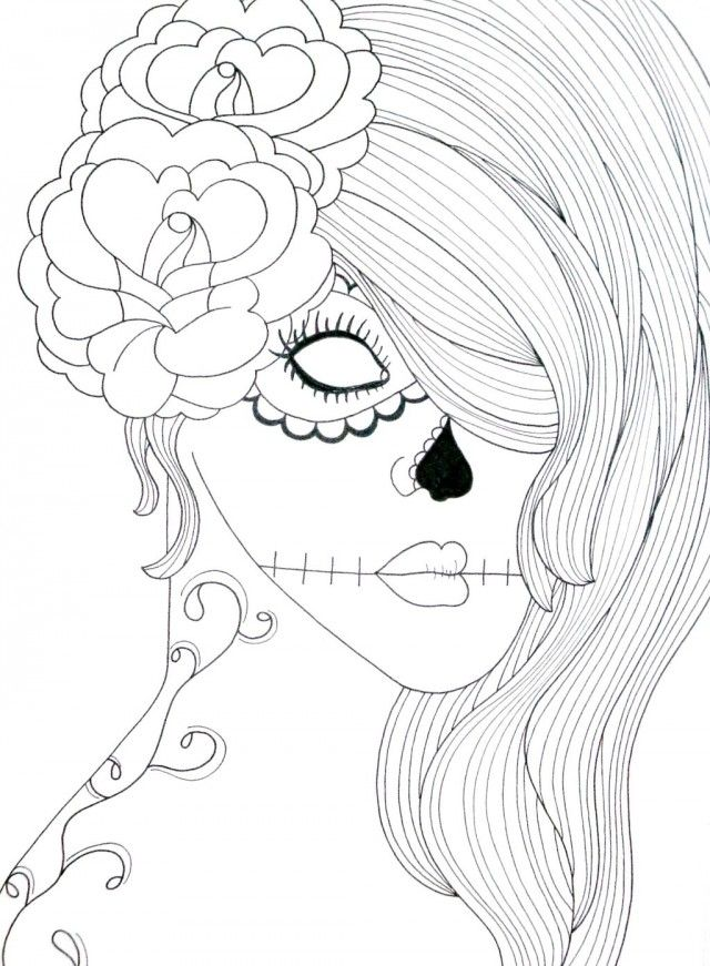 sugar skull coloring page coloring pages amp pictures imagixs - Coloring Pages Roses Skulls