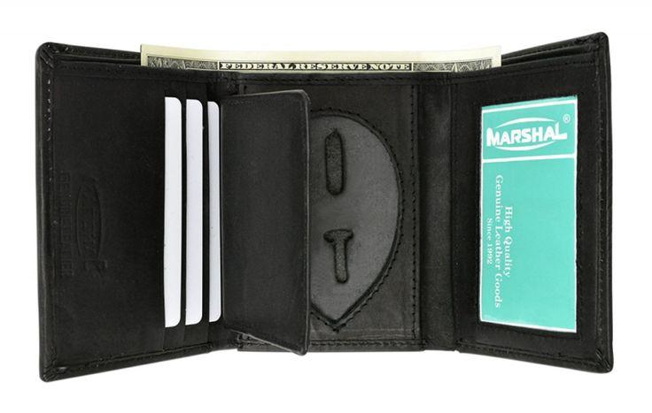 Genuine Leather Trifold Badge Holder Wallet Black Police Badge Holder