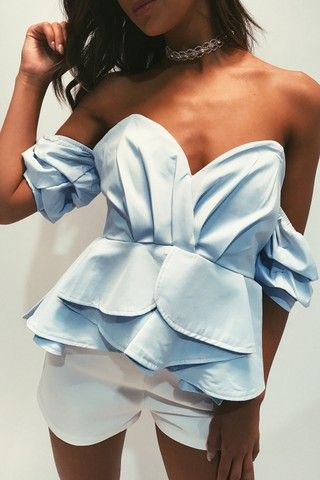 Shantelle Powder Blue Bardot Ruffle Sleeve Top