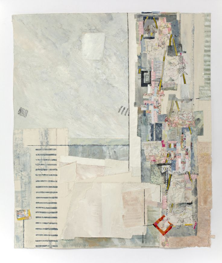 """""""Drifting Away III""""  Jae Maries  Calico, oil paint, hand-dyed and commercial fabrics, paper, hand and machine threads; 126cm high x 106cm wide"""