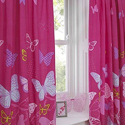 Textile Warehouse Butterfly Pink Polka Dot Girls Kids Childrens Pencil Pleat Lined Curtains 66 x 54: Amazon.co.uk: Kitchen & Home