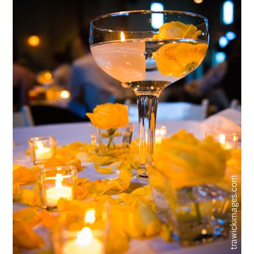 Centerpiece floating candle garden rose margarita glass