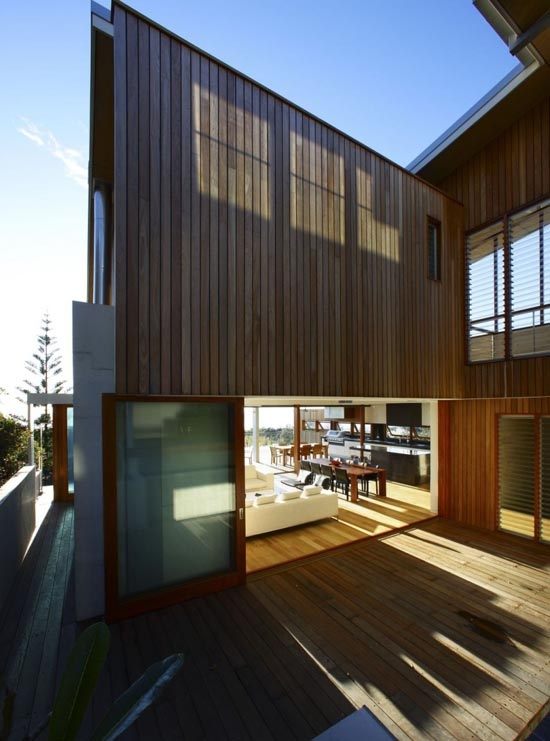 Exterior Wood Design Luxury Peregian Beach House in Queensland by Middap Ditchfield Architects