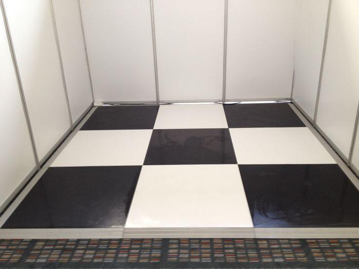 black & white check floor for expo