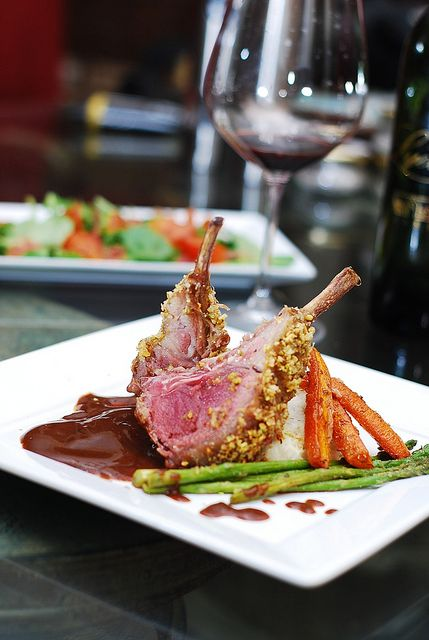 Pistachio Crusted Rack of Lamb with roasted carrots, asparagus and mashed potatoes - great for Easter dinner