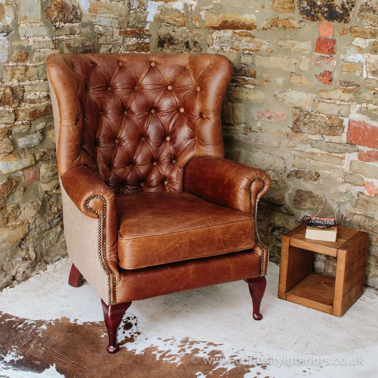 Superb Tudor Leather Armchair With Chesterfield Style Button Back Detail U0026 Tweed  Wool Fabric Elements