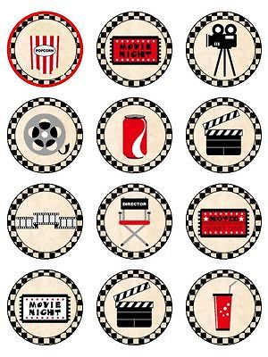 12 Retro Popcorn Movie Hollywood Cake/Cupcake Rice Paper Toppers