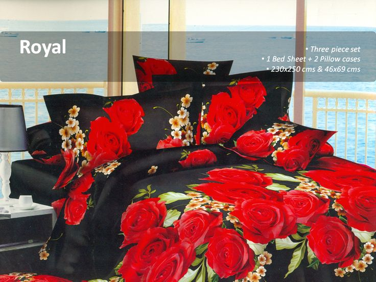5D Designed Bedsheet    Spread the charm of floral print in your bedroom with this black and red colored double bed sheet set . Featuring a print of roses all over, this set will surely attract you.