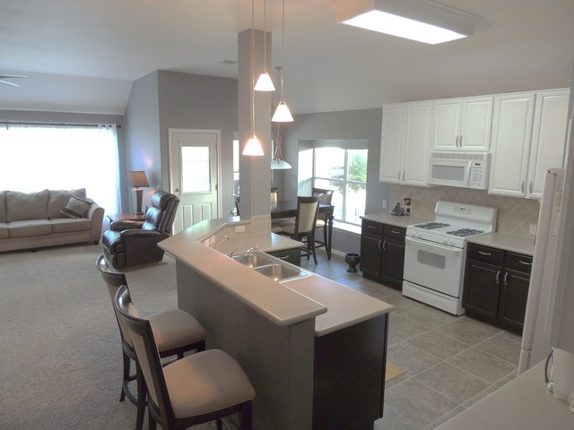 Large open kitchen, dining and living area.