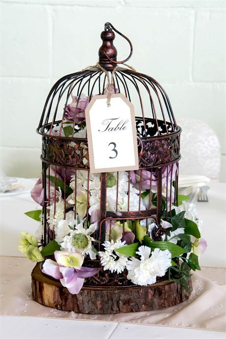 Vintage floral birdcage centrepieces