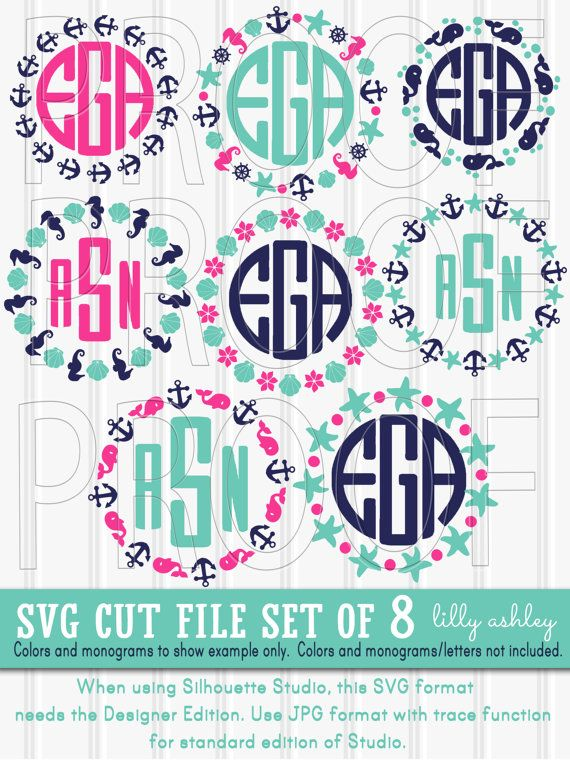 Monogram SVG Files Set of 8 cut files {SVG/PNG/jpg/eps formats} Monogram Ready Commercial use ok! anchor whale svg {no letters included}