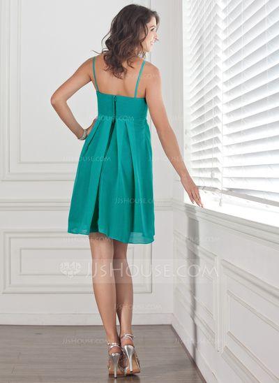 Forme Empire Bustier en coeur Courte/Mini Mousseline Robe de demoiselle d'honneur avec Plissé (007001460)
