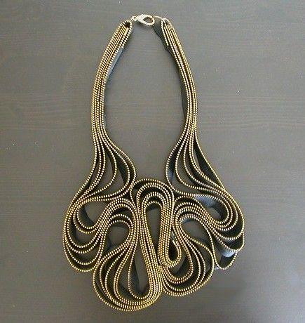 Wasn't sure where to put this one, but a fascinating necklace made out of zippers. Who could resist?