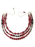 Deco Pearl 3 Strand Necklace in Red