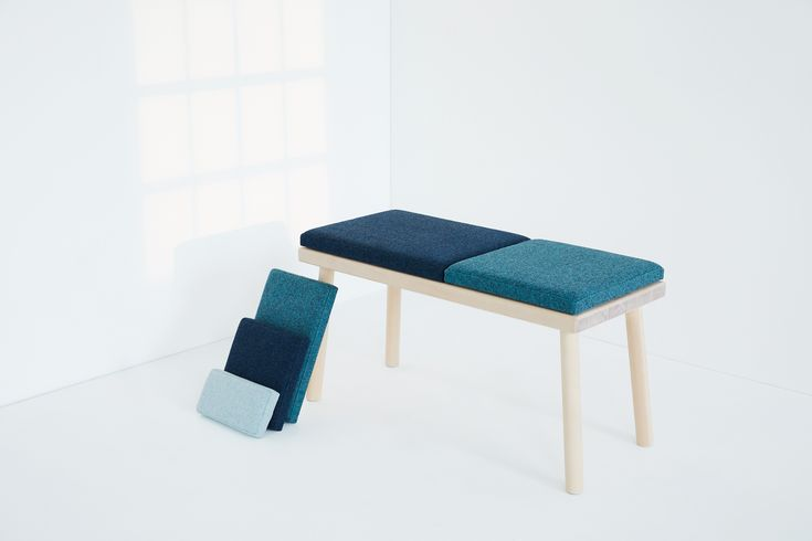 Pusle - a bench inspired by the playfulness around lego and puzzle. Combine the cushions as you like!