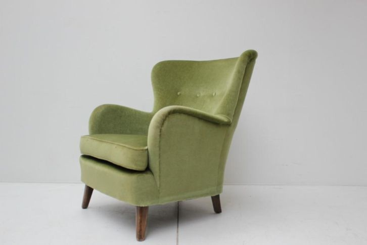 armchair, rounded, upholstery green