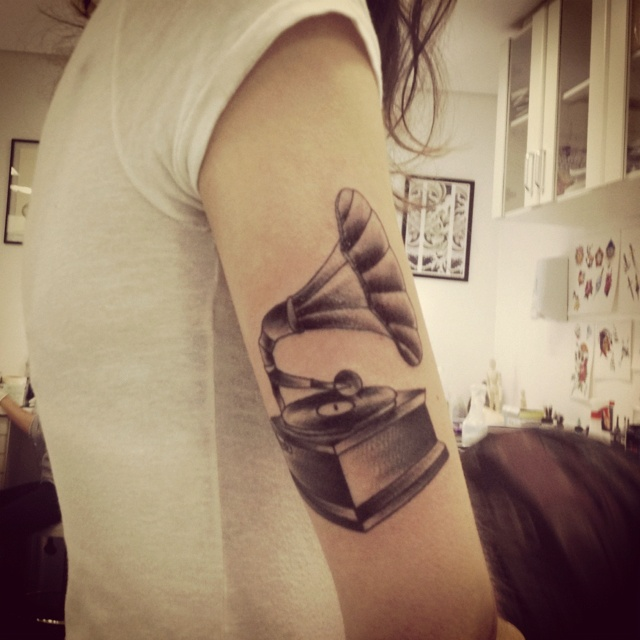 gramophone tattoo <3:;.