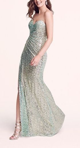 In love with this sparkly strapless sequin gown.