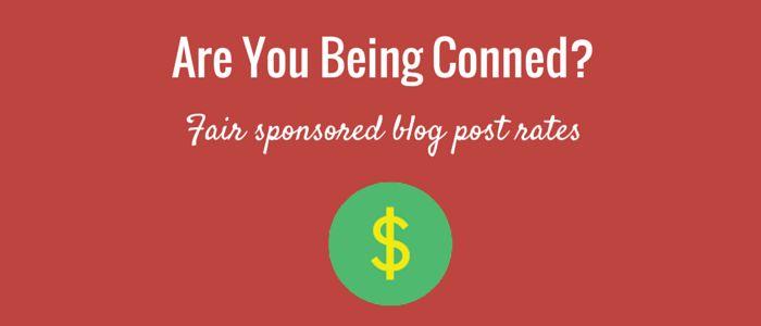 sponsored blog post rates