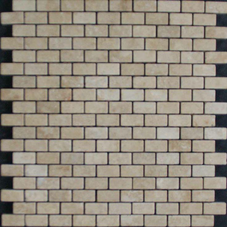 Mozaika marmurowa -  Kolekcja: Brico 1530; Kod: B153010; Wykończenie: ANTICO; Materiał: Travertino Navona; Wym. Kostki: 1,5x3,0 cm; Wym. Plastra: 30,0x30,0 cm
