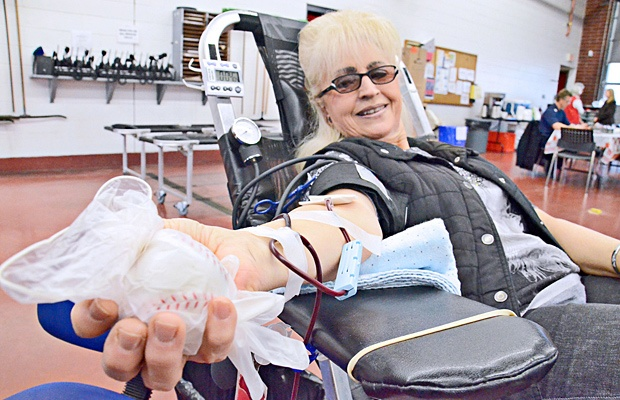 Sandy Dunkley was able to donate blood at the memorial clinic named for her late son, Ron.