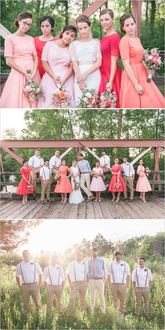 vintage style wedding party different shades or coral for the bridesmaids and leather suspenders for the groomsmen #bridalparty #vintage #weddingchicks http://www.weddingchicks.com/2014/01/24/pinterest-inspired-vintage-wedding/