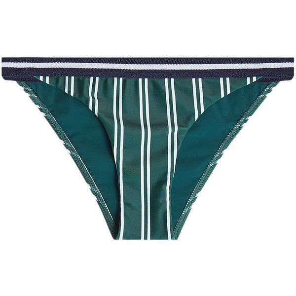 Rye Striped Bikini Bottom ($83) ❤ liked on Polyvore featuring swimwear, bikinis, bikini bottoms, green, swim wear, swim swimwear, striped bikini bottoms, bikini bottom swimwear and green bikini bottoms
