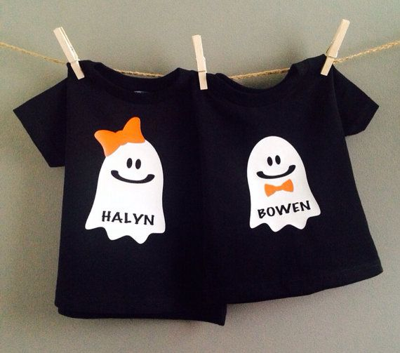 Kids Halloween Shirt, personalized baby halloween shirt, ghost shirt on Etsy, $15.00
