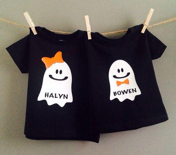 Kids Halloween Shirt, personalized baby halloween shirt, ghost shirt on Etsy, $15.00