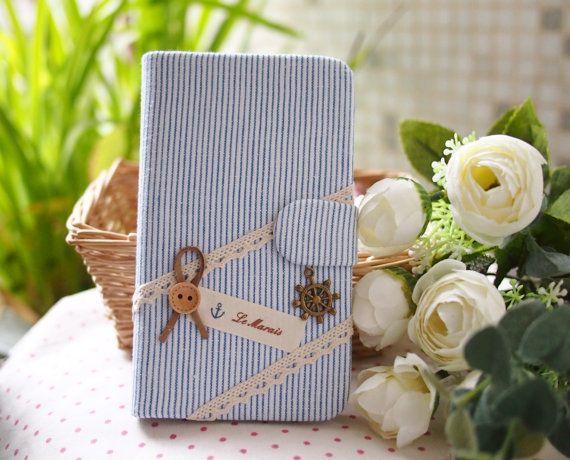 Diy Handmade Cloth Art Flip Cover Case no1fc. Sea Style for Samsung Galaxy Note 2 S4 S3 S2 LG Nexus 4 Optimus G Pro